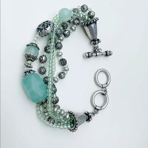 Premier Designs  Blue Bead Silver toggle bracelet